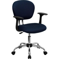 Flash Furniture Mid-Back Navy Blue Mesh Task Chair with Arms and  Chrome Base-H-2376-F-NAVY-ARMS-GG