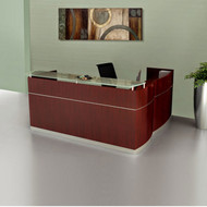 Mayline Napoli Veneer Reception Desk with Return and 2 File/File Pedestal Drawers Sierra Cherry - NRSLFF-CRY