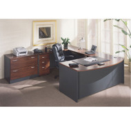 Bush Business Furniture Series C Package Executive U-Shaped Bowfront Desk Hansen Cherry - HCPackageA