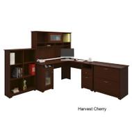 "Bush Cabot Collection L-Shaped Desk 60"" Package Harvest Cherry - CAB003HVC"