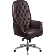 Flash Furniture High Back Traditional Tufted Brown LeatherSoft Multifunction Executive Chair - BT-90269H-BN-GG