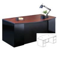 Mayline CSII Bow Front Desk with 2 Pedestals (1 F/F and 1 B/B/F) 60W x 39D x 29H - C1955