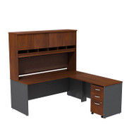 "Bush Business Furniture Series C Executive L-Shaped Desk 72"" with Hutch and Mobile File Cabinet in Hansen Cherry - SRC0018HCSU"