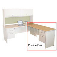 "Marvel Desk Return, Single Pedestal, Non-handed 60"" Pumice/Oak - PRR6024SP_UTOK"