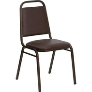 Flash Furniture Hercules Series Trapezoidal Back Stacking Banquet Chair with Brown Vinyl - FD-BHF-2-BN-GG