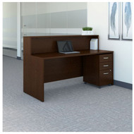 "Bush Business Furniture Series C Reception Desk with 3-Drawer Mobile Pedestal Mocha Cherry 72""W x 30""D - SRC096MRSU"