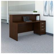 "Bush Business Furniture Series C Reception Desk with 3-Drawer Mobile Pedestal Mocha Cherry 72""W x 30""D - SRC096MRSU"