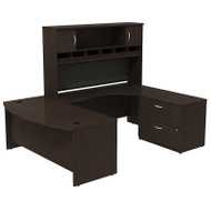 "Bush Business Furniture Series C Package Executive U-Shaped Bowfront Desk with Hutch and Lateral File in Mocha Cherry 72"" - SRC005MRRSU"