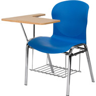 Flash Furniture Hercules Series Blue Shell Chair with Right Handed Laminate Tablet Arm and Book Rack - JN-EVO-DESK-RT-GG