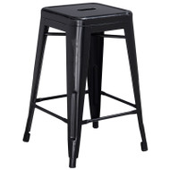 "Flash Furniture Distressed Black Metal Indoor-Outdoor Counter Height Stool 24""H - ET-BT3503-24-BK-GG"