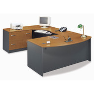 Bush Business Furniture Series C Package Executive U-Shaped Bowfront Desk with Keyboard Tray Natural Cherry - NCPackageE