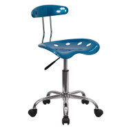 Flash Furniture Vibrant Bright Blue and Chrome Computer Task Chair with Tractor Seat - LF-214-BRIGHTBLUE-GG