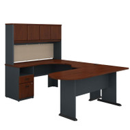 Bush Business Furniture Series A U-Shaped Desk with Hutch, Peninsula and Storage in Hansen Cherry- SRA009HC
