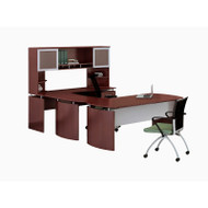 "Mayline Medina Laminate Executive 63"" Desk U-Shaped Package Right Mahogany - MNT34-LMH"