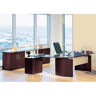 "Mayline Napoli Veneer Series Suite 15 - Executive Desk 72"" with Return on Right and Low Wall Cabinet and Lateral File  Mahogany - NT15"
