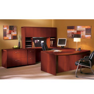 "Mayline Aberdeen Executive U-Shaped Desk 66"" w/Wood Door Hutch Package Cherry - AT41-LCR"