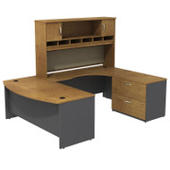 "Bush Business Furniture Series C Package Bowfront U-Shaped Desk with Hutch and Storage Right Handed Natural Cherry 72"" - SRC005NCRSU"