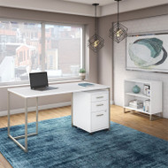 Kathy Ireland by Bush Method Collection 60W Desk with Mobile Pedestal and Bookcase White - MTH008WHSU