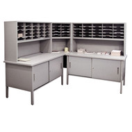 "Marvel 60 Adjustable Slot Literature Organizer with Cabinet Slate Gray 90""W x 30""D x 60-68""H - UTIL0031"