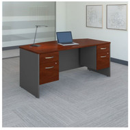 "Bush Business Furniture Series C Executive Bowfront Desk 72"" with Two 3/4-Pedestals Hansen Cherry - SRC063HCSU"