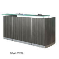 Mayline Medina Reception Station with Two File Pedestals Gray Steel - MNRSBF-LGS