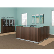Mayline Medina Laminate Reception Desk with Return and Two Box/Box/File Pedestal Drawers Textured Brown Sugar Finish - MNRSLBB-TBS