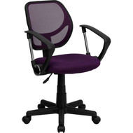 Flash Furniture Mid-Back Purple Mesh Task Chair and Computer Chair with Arms - WA-3074-PUR-A-GG