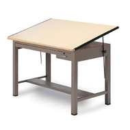 Mayline Ranger Steel Four-Post Drafting Table with Tool and Shallow Drawers 84W - 7739B