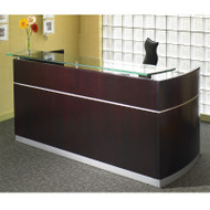 Mayline Napoli Veneer Reception Desk with Pedestals and Center Drawer Mahogany - NRSBB