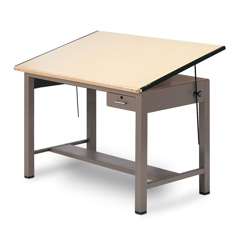 Mayline Ranger Steel Four Post Drafting Table With Tool Drawer 48 7734a