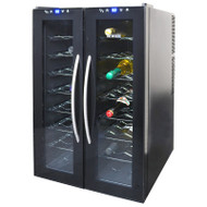 NewAir 32 Bottle Dual Zone Thermoelectric Wine Cooler, Black - AW-320ED