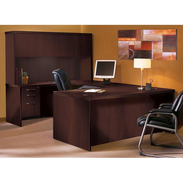 Mayline Aberdeen Executive U-Shaped Desk 72 w/Wood Door Hutch Package Mocha  - AT4