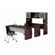 "Mayline Medina Laminate Executive 63"" Desk U-Shaped Package Left Mocha - MNT33-LDC"
