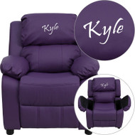 Flash Furniture Kid's Recliner with Storage Dreamweaver Embroiderable Purple Vinyl - BT-7985-KID-PUR-EMB-GG