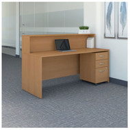 "Bush Business Furniture Series C Reception Desk with 3-Drawer Mobile Pedestal Light Oak 72""W x 30""D - SRC096LOSU"