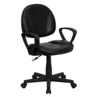 Flash Furniture Mid-Back Black Leather Ergonomic Task Chair with Arms - BT-688-BK-A-GG