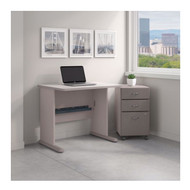 Bush Business Furniture Series A 36W Desk with Mobile File Cabinet in Pewter - SRA024PESU