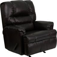 Flash Furniture Contemporary Marshall Walnut Leather Rocker Recliner - HM-500-MARSHALL-WALNUT-GG