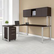 "Bush Business Furniture 400 Series L-Shaped Table Desk and 3 Drawer Mobile Pedestal 72"" x 30"" Mocha Cherry - 400S181MR"
