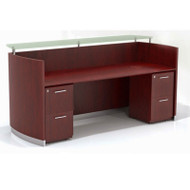 Mayline Medina Reception Station with Two File/File Pedestals Mahogany - MNRSBB-LMH