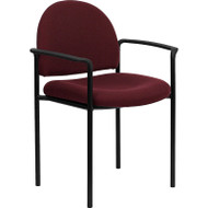 Flash Furniture Burgundy Fabric Stacking Chair with Arms - BT-516-1-BY-GG
