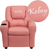 Flash Furniture Kid's Recliner with Cup Holder Pink Vinyl Dreamweaver Embroiderable - DG-ULT-KID-PINK-EMB-GG
