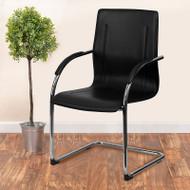 Flash Furniture Black Vinyl Side Chair with Chrome Sled Base - BT-509-BK-GG