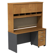 "Bush Business Furniture Series C Package Desk with Hutch and Mobile File Cabinet in Natural Cherry 60""W x 24""D - SRC014NCSU"