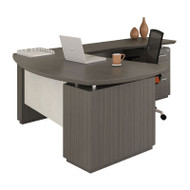 """Mayline Sterling Executive 66""""W L-Shaped Desk with Right-Hand Return and Two Pedestals, Textured Driftwood - STL7-TDW"""