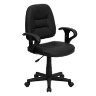 Flash Furniture Mid-Back Black Leather Ergonomic Task Chair with Arms - BT-682-BK-GG