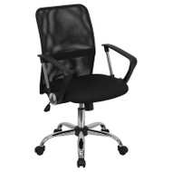 Flash Furniture Mid-Back Black Mesh Computer Chair with Chrome Finished Base - GO-6057-GG