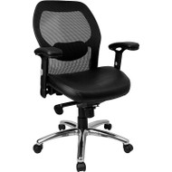 Flash Furniture Mid-Back Super Mesh Office Chair with Black Italian Leather Seat and Knee Tilt Control - LF-W42-L-GG