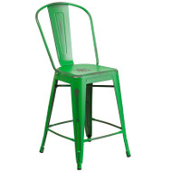 "Flash Furniture Distressed Green Metal Indoor-Outdoor Counter Height Chair 24""H - ET-3534-24-GN-GG"