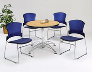 "MONTHLY SPECIAL! OFM Multipurpose Round Breakroom Table 36"" with 4 Chairs - PKG-BRK-057"